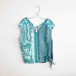 Anthropologie | paisley print silk tie front top L
